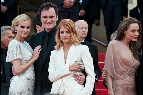 Actress Diane Kruger, director Quentin Tarantino and actress Melanie Laurent